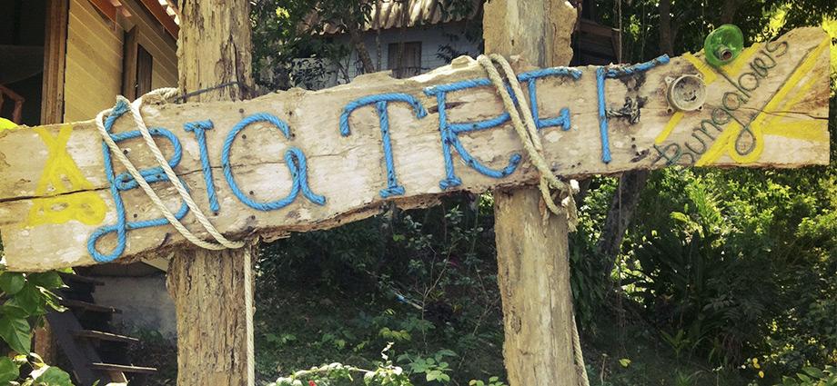 koh payam big tree bunaglows sign